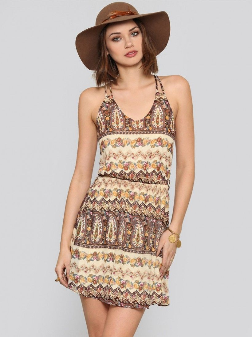 Gypsy warrior fully lined vneck chiffon dress featuring an allover