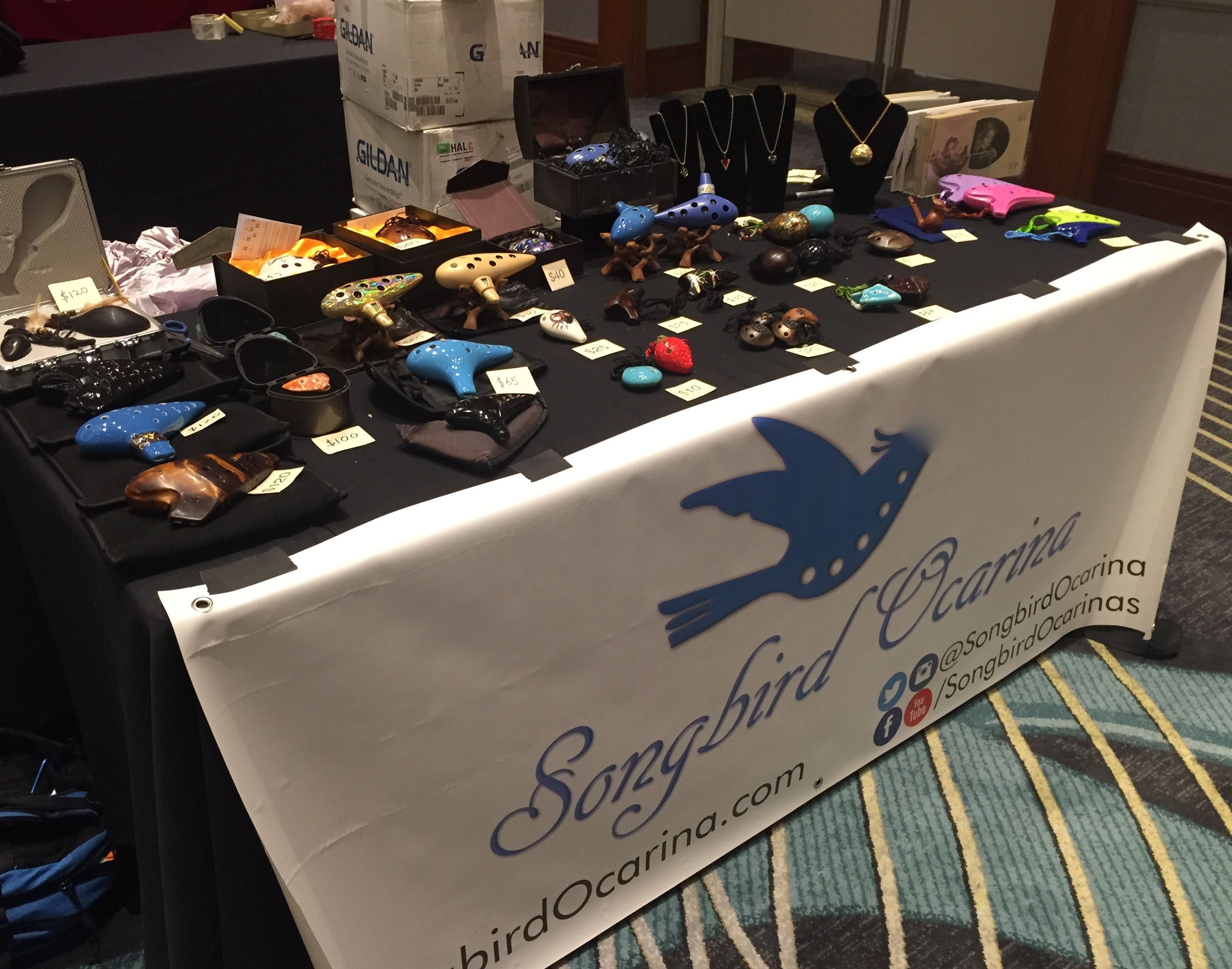 We're all set up at the Midwest Media Expo, so come by and meet @Docjazz4 and jam with your new ocarina!