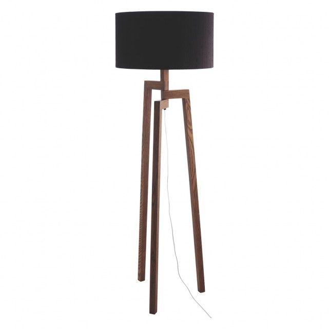 DYLAN Walnut stained wooden floor lamp with black shade | Buy now ...