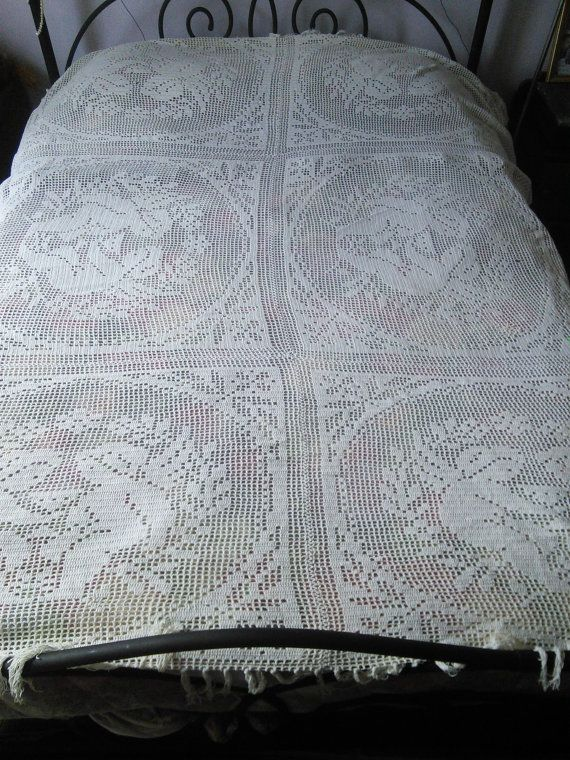 Handmade Lace Crochet Curtain, Bedcover Bedspread or Throw Rug ...