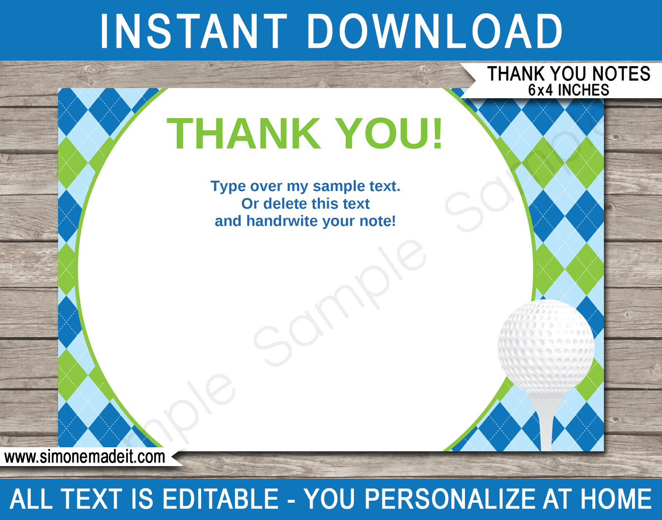 Golf Party Thank You Cards Template Blue Green Note Card Template Thank You Card Template Blank Note Cards