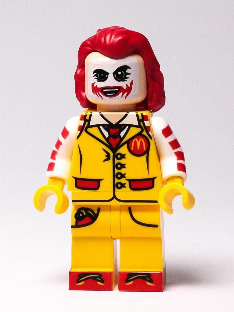 LEGO Custom UV Printed Ronald McDonald Joker Minifig Minifigure Batman