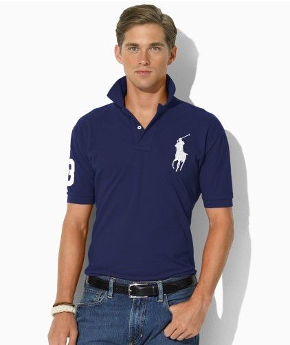 cd992dad1f31d Ralph Lauren Men s Classic-Fit Big Pony Short Sleeve Polo Shirt Boathouse  Navy   White