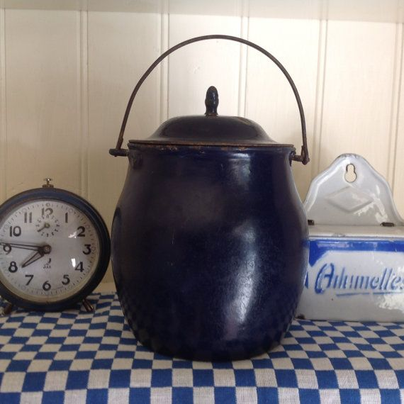 French Vintage Enamelware Pot, French Country Home Decor, Farmhouse ...