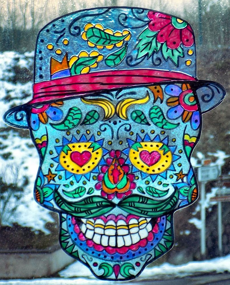 WICOART WINDOW COLOR STICKER STATIC CLING STAINED GLASS CARNAVAL SUGAR SKULL