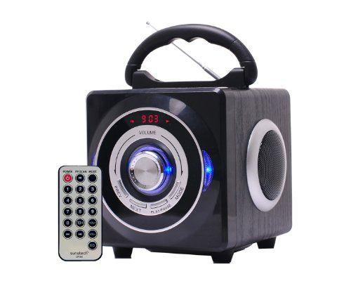 Sunstech SPFM1BK - Altavoces portátiles, 2 x 3 W, USB, tarjeta SD, reloj digital con alarma, asa de transporte, color negro B00AIN37V8 - http://www.comprartabletas.es/sunstech-spfm1bk-altavoces-portatiles-2-x-3-w-usb-tarjeta-sd-reloj-digital-con-alarma-asa-de-transporte-color-negro-b00ain37v8.html
