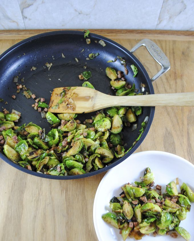 Cod Filets Served with Sauteed Brussels Sprouts and Prosciutto