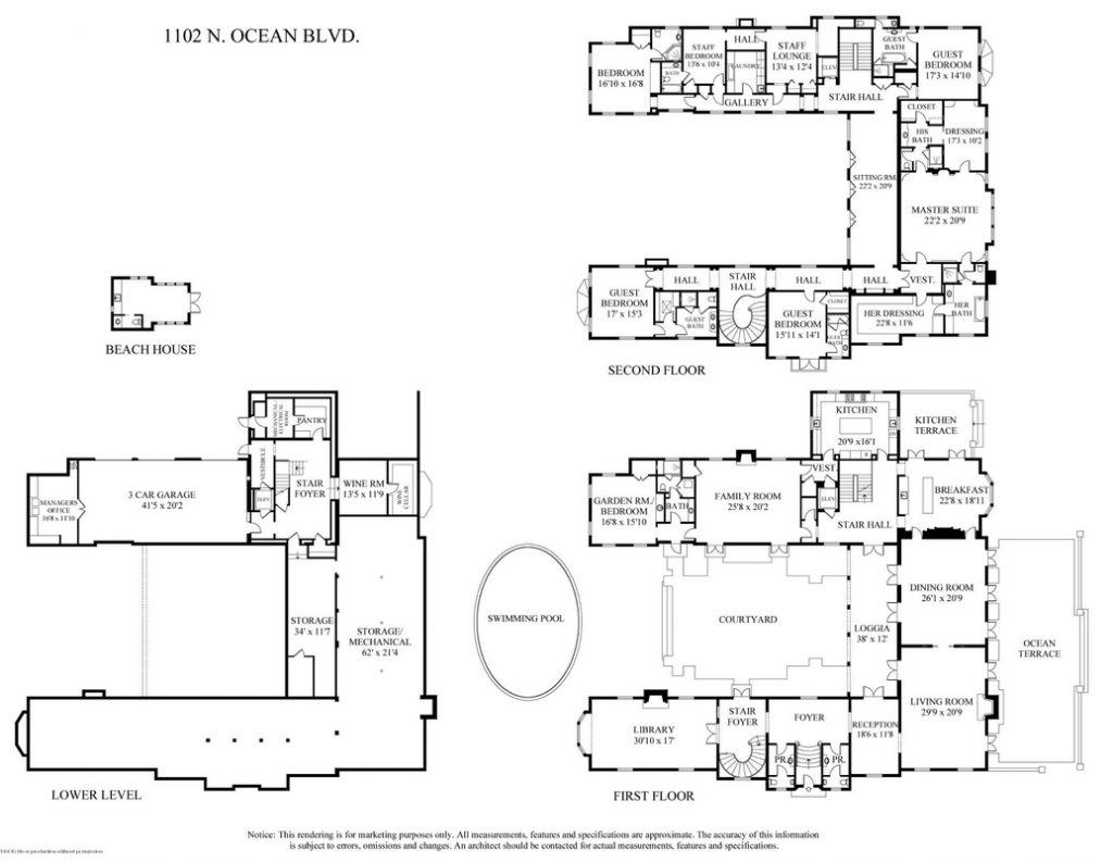 Palm beach mansion floor plan for Rich house plans