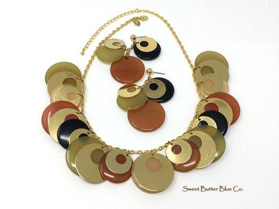 Midcentury modern vintage jewelry set, designer signed Retro fall