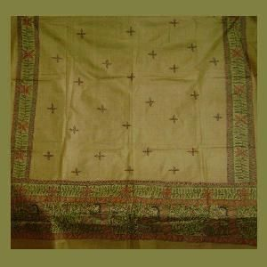 Handcrafted Silk Dupattas, traditional Mithila Painting only at www.madhubanifolkgallery.com MTMSLKDPT00014