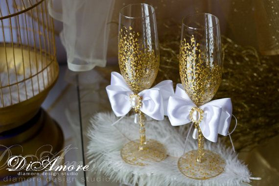Trend White Gold Wedding Champagne Gles By Diamoreds On Etsy