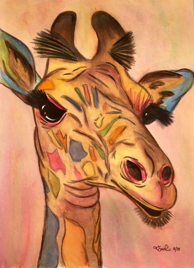 """Gerri the Giraffe""  Hand painted watercolour"
