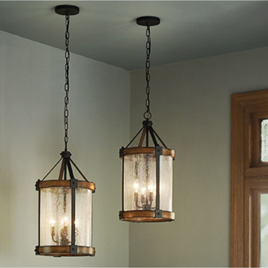 Shop Kichler Lighting Barrington 12.01-in W Distressed Black and Wood Pendant Light with Clear Shade at Lowes.com & Shop Kichler Lighting Barrington 12.01-in W Distressed Black and ...