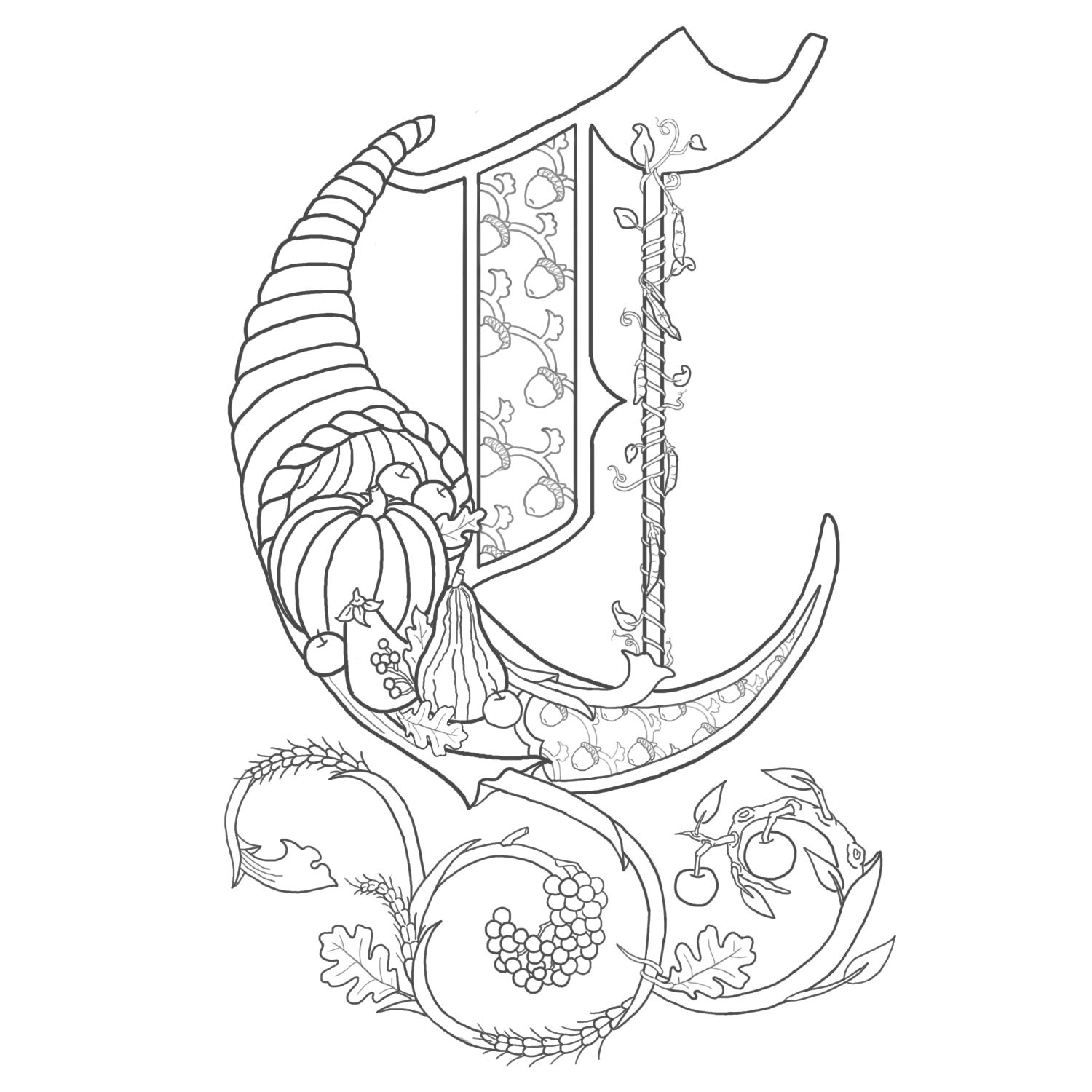 Alice stanne illuminated letters graphic lettering for Illuminated alphabet coloring pages