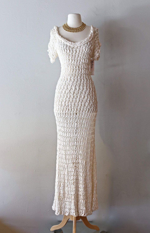 Vintage 1930\'s Crochet Wedding Dress ~ Vintage 30s Ribbon Knit ...