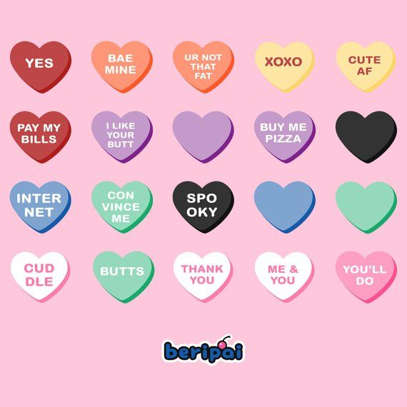 Valentines Heart Candy Clip Art 100 Colorful Graphics Etsy Valentines Day Clipart Heart Candy Valentines Conversation Hearts