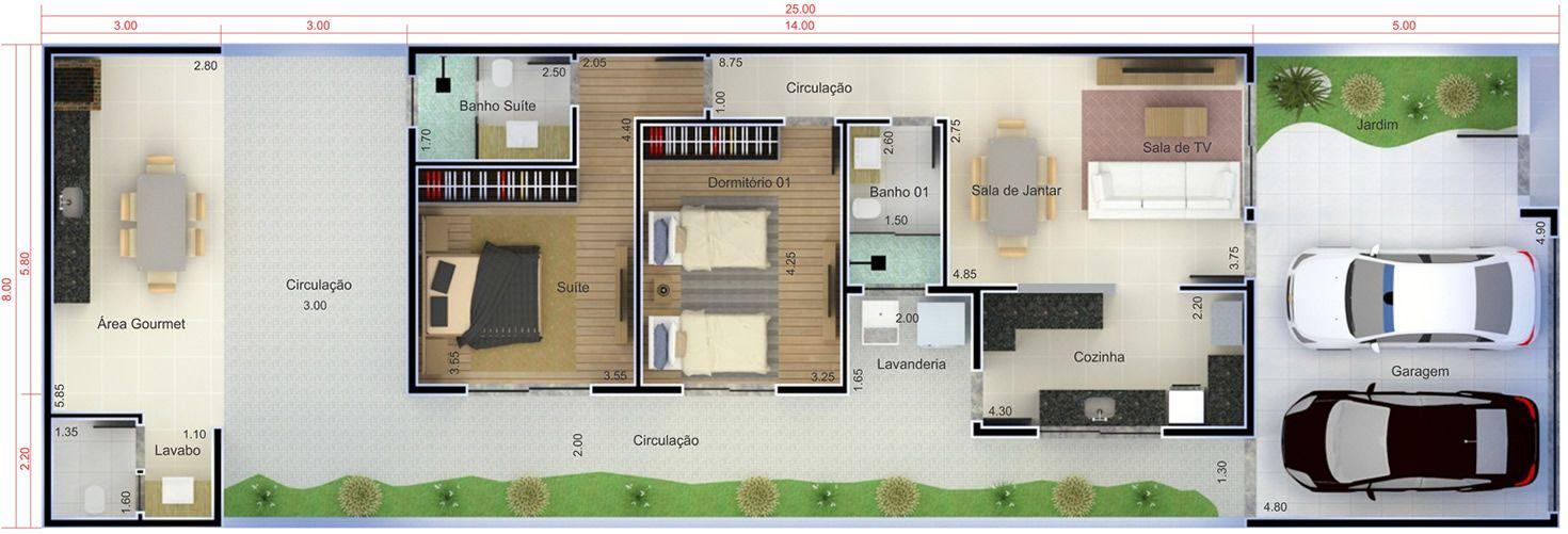 Plantas de casas 8x20 com garagem projeto de duplex for Casa moderna 8x20