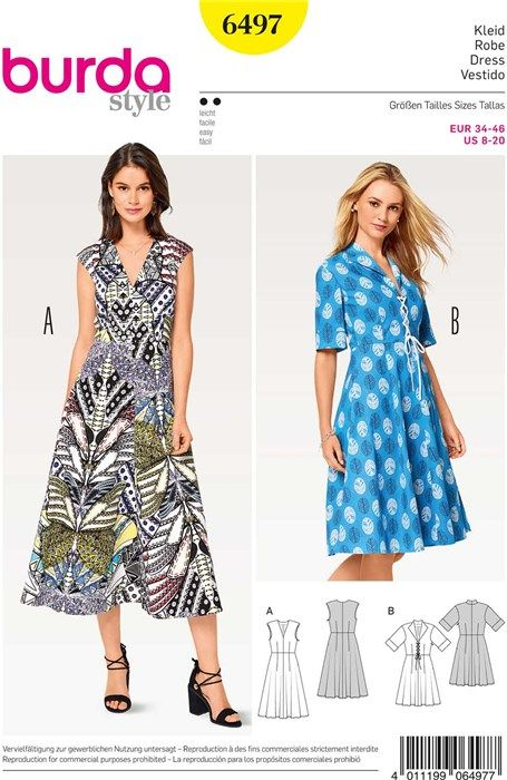 f6362e831f3c Burda Style Pattern Misses  V-Neck Dress. Patron de robe - Burda 6497 -  Rascol