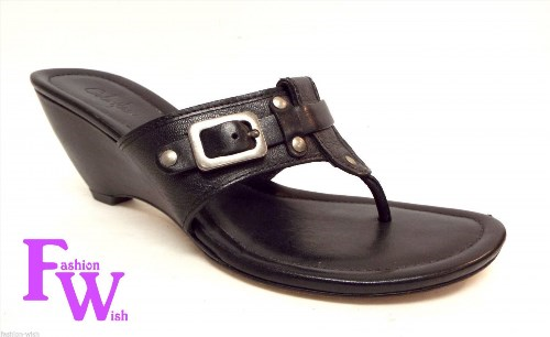 49.00$  Buy now - http://vihpn.justgood.pw/vig/item.php?t=7ijdxfk56394 - COLE HAAN Size 7 1/2 Black Leather T Strap Sandals Wedge Shoes 7.5 49.00$