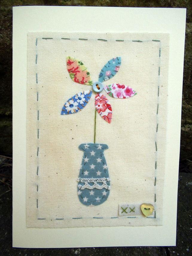 Ditsy fabric flower card