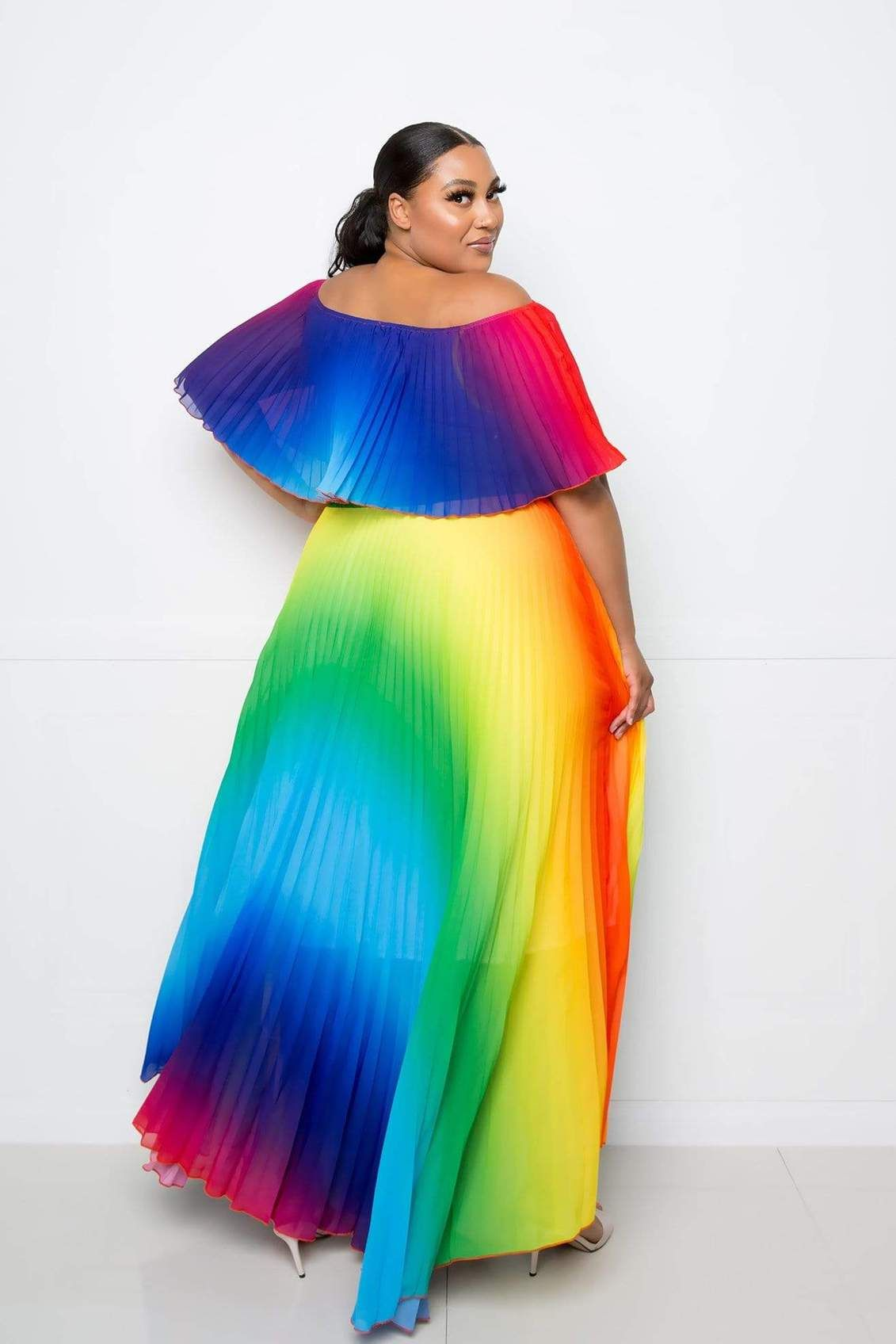 Off The Shoulder Rainbow Maxi Dress Coedition Maxi Dress Rainbow Dress Dresses [ 1696 x 1131 Pixel ]