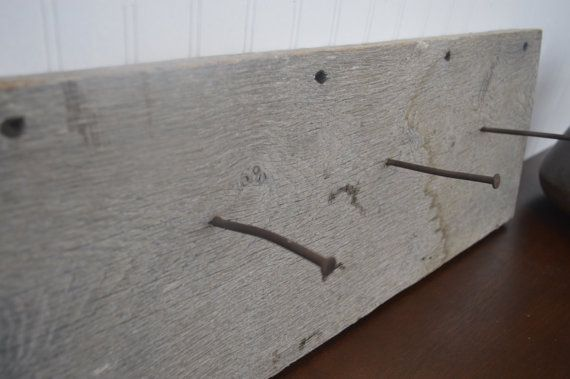 Rustic coat rack wall mount with 3 nail by CarriageHouseCreek