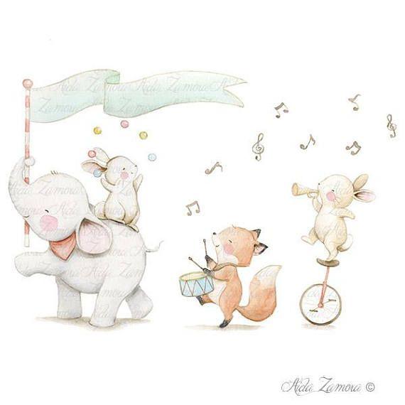 Kindertisch Music Band Gedruckt Blatt Illustration Von Tieren
