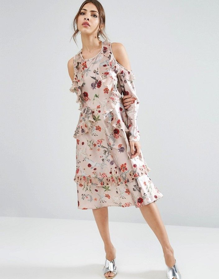 5c301d1dcf6d2 ASOS Cold Shoulder Midi Dress With Pleated Ruffle in Swan Print ...