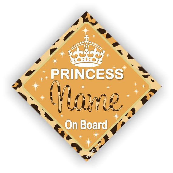 Personalized Princess Board Leopard Print Car Decal Girls - Custom car decals vancouver   how to personalize