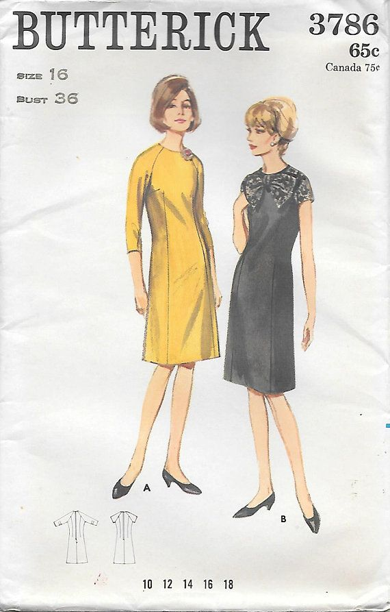 Size 16 Uncut Erick 3786 1960s Raglan Sleeve Slimming Tail Dress Vintage Sewing Pattern Bust