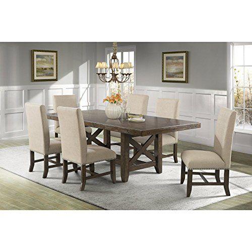 Picket House Francis 7 Piece Upholstered Dining Table Set... https://www.amazon.com/dp/B01KI7PM52/ref=cm_sw_r_pi_dp_x_fBvWybH2VJ703