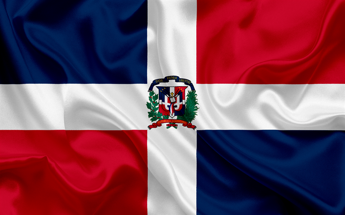 Download Wallpapers Flag Of Dominican Republic Caribbean Dominican Republic Silk Flag National Symbols Besthqwallpapers Com Dominican Republic Flag Republic Flag Flag