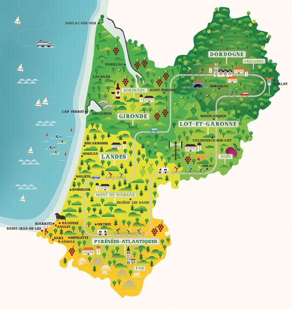 Aquitaine, France Map / Observer Newspaper by Neil Stevens, via Behance #inspiration #map