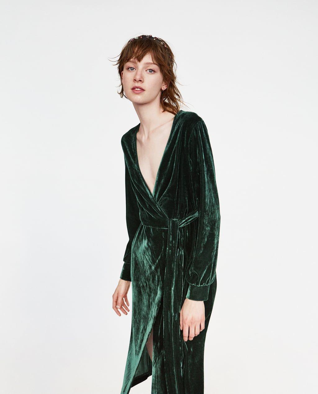 7fd6a08a Image 1 of CROSSOVER VELVET DRESS from Zara | Clothes | Velvet midi ...
