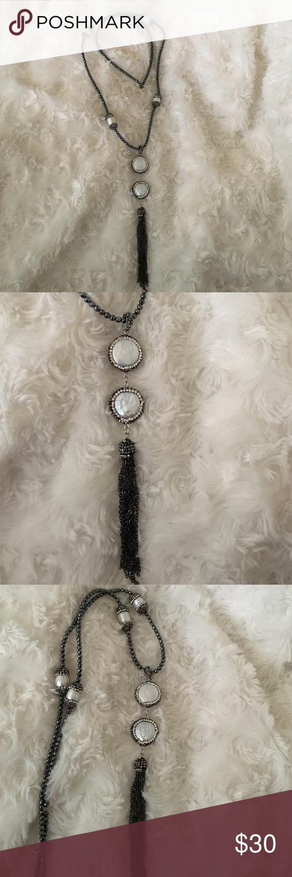 Vintage pearl CZ druzy Necklace with Tassel round & cylinder pearl CZ druzy Necklace with Tassel vintage necklace Jewelry Necklaces