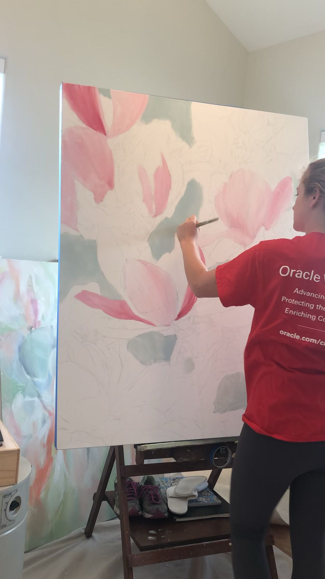 Artist, CoCo Zentner, shows how she paints her first layer of her paintings to help inspire other creatives and artists. To learn more about how to paint, visit her website or send her an email! #howtopaint #artist #oilpainting  #flowerpainting