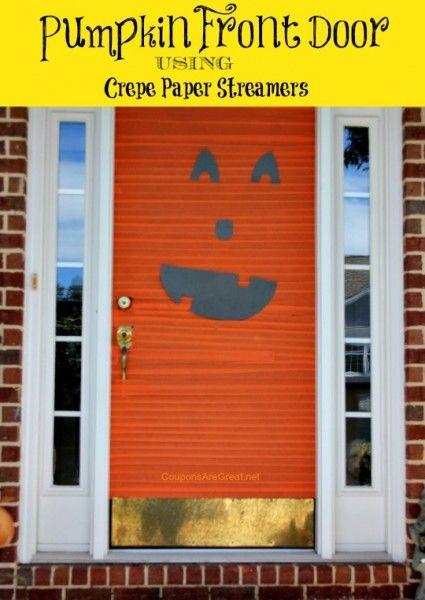 halloween decorations pumpkin front door with crepe paper halloween halloweendecorations pumpkin