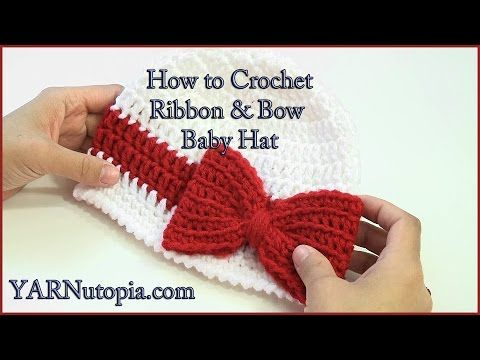 How to Crochet a Ribbon and Bow Baby Hat - YouTube   Crocheting ...