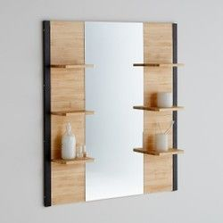 Miroir De Salle De Bains Pin Massif Metal Hiba La Redoute