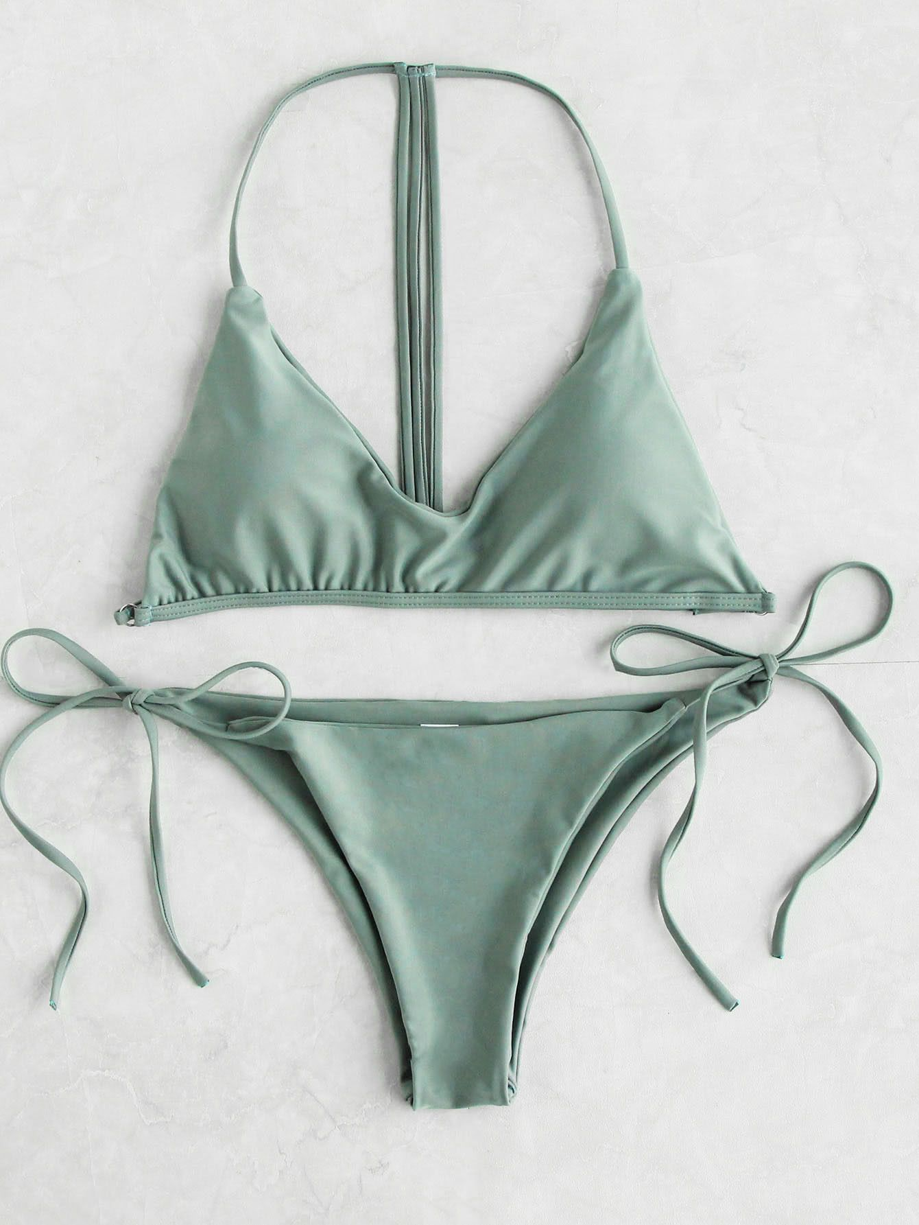 9b2fad302fc2d Green T-Back Strap Triangle Padded Side Tie Bikini Set in 2019 ...