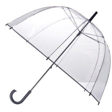 Clear PVC bubble-style umbrella---I am short, and 'regular' umbrellas tend to jab other people in crowds. Not this kind! No pointy parts for others, and I can see everything around me!