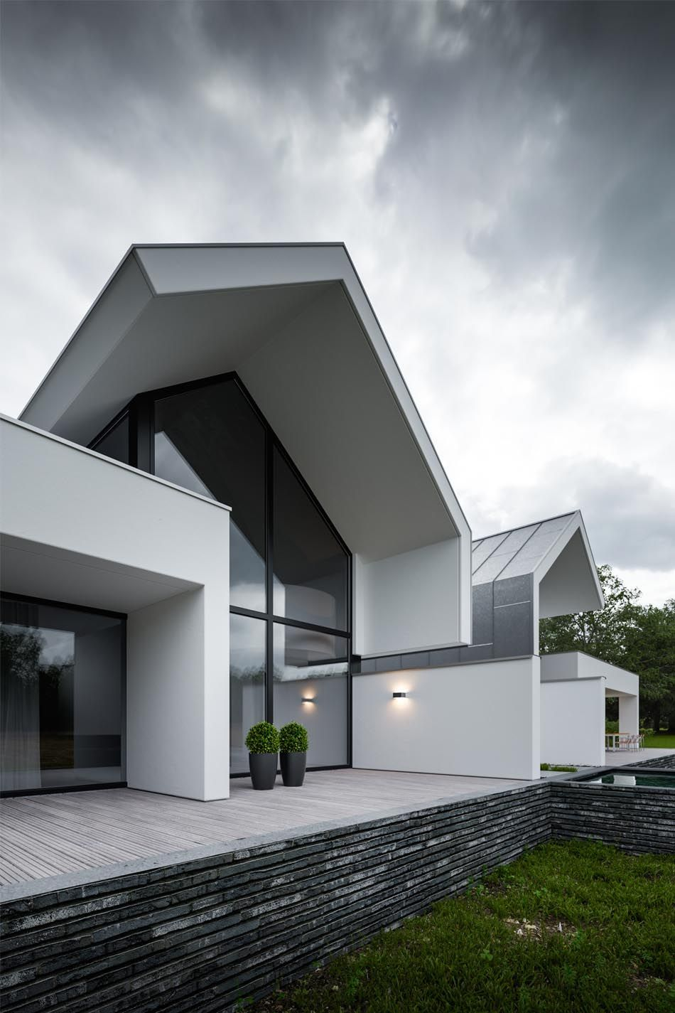 Modern home contemporary design httpbocadoloboen project zwolle creates an impressive and moody overcast atmosphere with extensive use of forest pack in combination with some ccuart Images