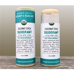 Our organic natural stick deodorant readily absorbs into your skin to help you stay fresh naturally with a refreshing, clean scent. Moisturizing virgin coconut oil has antibacterial properties that naturally and effectively help neutralize underarm odor Silky organic cornstarch soothes skin and absorbs perspiration Baking soda makes underarms less friendly to odor causing bacteria Essential oil blend includes Tea Tree Oil with antibacterial and antifungal properties to help prevent odor Directio