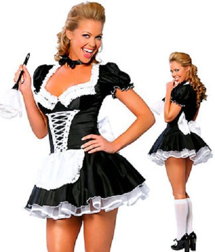 1 Piece Late Nite Maid Outfit Includes Dress With Lace Up Detail Short Sy