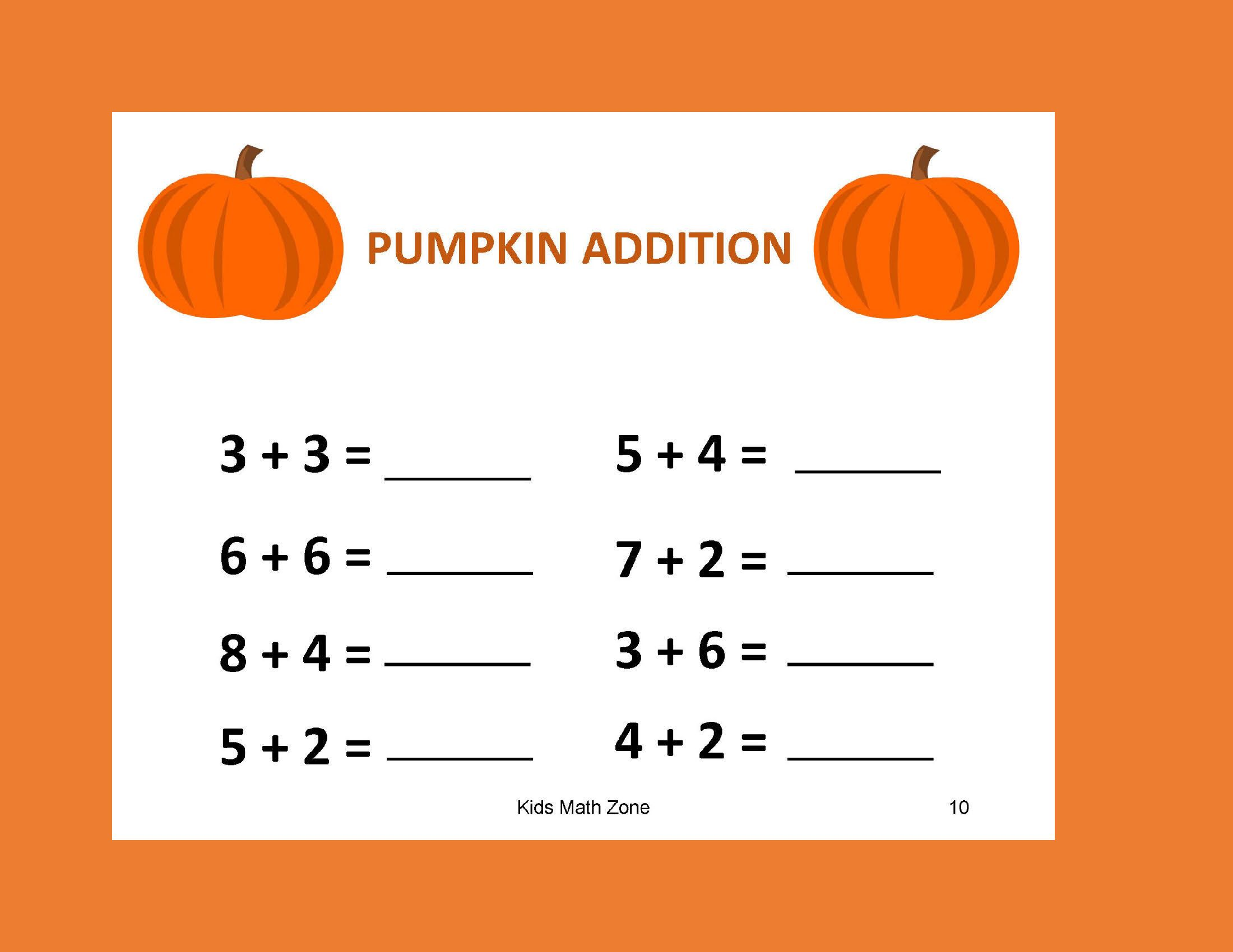 Pumpkin Addition B 12 Worksheets Preschool