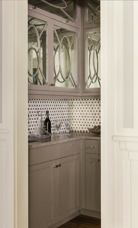 Gray Butlers Pantry Mirror Fronted Cabinet Backsplash