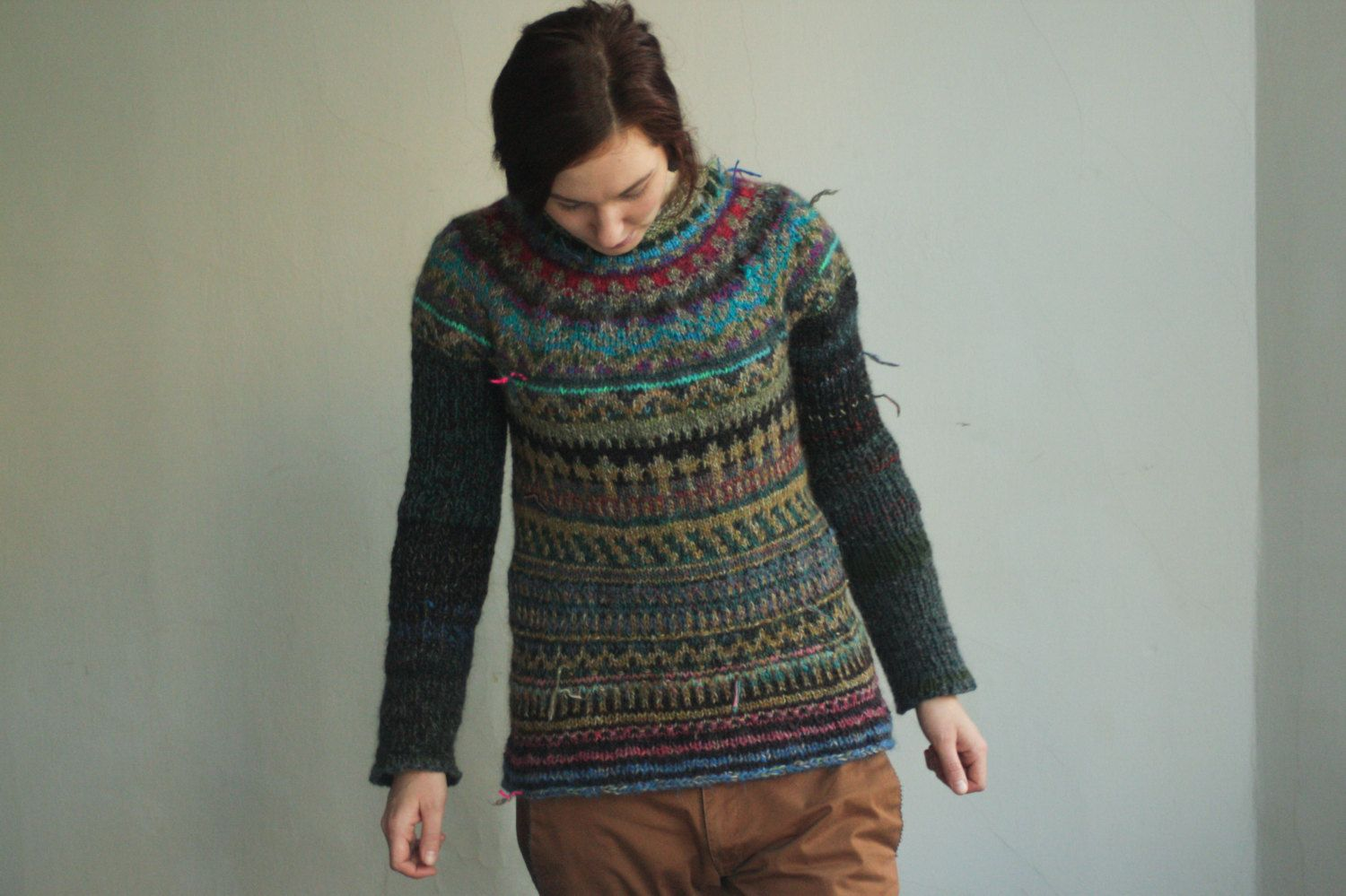 Free shipping! Handmade double knitted Icelandic wool sweater by TASSSHA on Etsy