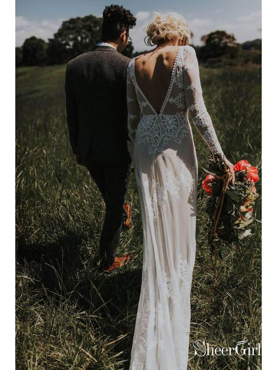 b1e729a52 Long Sleeve Ivory Sheath Wedding Dresses Backless Lace Applique