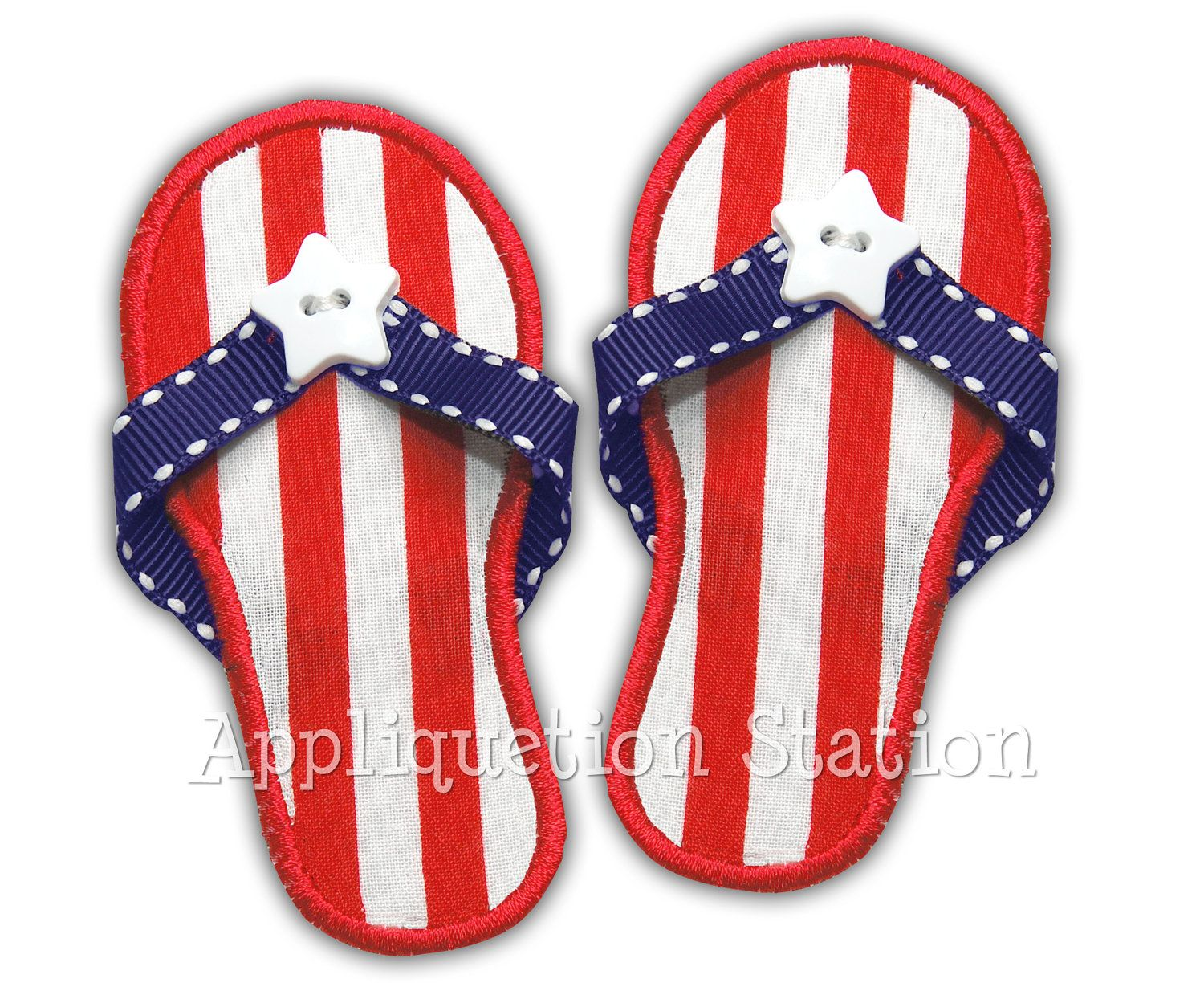 b3629164f75 3d real ribbon In-the-Hoop Sandals flip flops Ribbon Patriotic Applique  Machine Embroidery Design Download red white blue 4th of July summer.