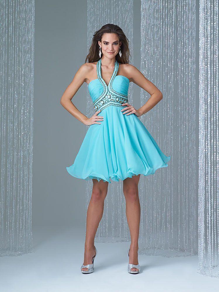 Madison James 16-375 Jeweled Halter Cocktail Dress